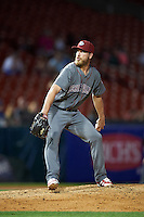 Lehigh Valley IronPigs relief pitcher Patrick Schuster (61) during a game against the Buffalo Bisons on August 29, 2016 at Coca-Cola Field in Buffalo, New York.  Buffalo defeated Lehigh Valley 3-2.  (Mike Janes/Four Seam Images)