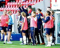 USA bench celebrates after the third goal. USA 4,  Norway 0, Fredrikstad Stadium, July 2, 2008.