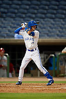 Dunedin Blue Jays second baseman Kevin Vicuna (3) during a Florida State League game against the Clearwater Threshers on April 4, 2019 at Spectrum Field in Clearwater, Florida.  Dunedin defeated Clearwater 11-1.  (Mike Janes/Four Seam Images)