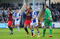Blackburn Rovers' Elliott Bennett interacts with Bristol Rovers' Kyle Bennett<br /> <br /> Photographer Ashley Crowden/CameraSport<br /> <br /> The EFL Sky Bet League One - Bristol Rovers v Blackburn Rovers - Saturday 14th April 2018 - Memorial Stadium - Bristol<br /> <br /> World Copyright &copy; 2018 CameraSport. All rights reserved. 43 Linden Ave. Countesthorpe. Leicester. England. LE8 5PG - Tel: +44 (0) 116 277 4147 - admin@camerasport.com - www.camerasport.com