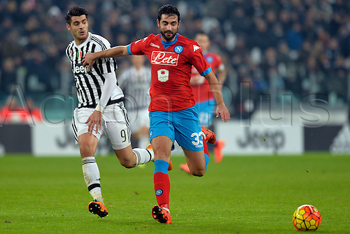 13.02.2016. Juventus Stadium, Turin, Italy. Serie A Football. Juventus versus Napoli. Raul Albiol shields the ball from Alvaro Morata