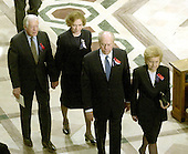 Former United States President Jimmy Carter and former first lady Rosalyn Carter and former United States President Gerald R. Ford and former first lady Betty Ford depart the Washington National Cathedral  following  the National Day of Prayer Service in Washington, D.C. on September 14, 2001.<br /> Credit: Ron Sachs / CNP