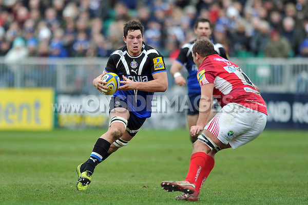 Francois Louw faces off against Jonathan Mills. Aviva Premiership match, between Bath Rugby and London Welsh on March 30, 2013 at the Recreation Ground in Bath, England. Photo by: Patrick Khachfe / Onside Images