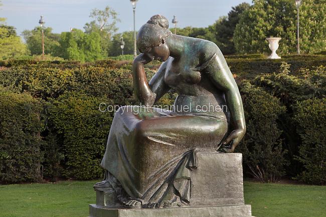 La Douleur (Grief), 1922, bronze, by Aristide Maillol (1861-1944), Jardin du Carrousel, Paris, France. Picture by Manuel Cohen