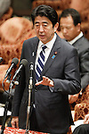 February 12, 2013, Tokyo, Japan - Japan's Prime Minister Shinzo Abe answers questrions asked by an opposition lawmaker during a question-and-answer session of the Diet lower house Budget Committee in Tokyo on Tuesday, February 12, 2013. (Photo by AFLO)