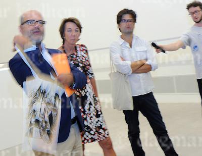 Sept.12-2016,Berlinische Galerie, Berlin,Germany<br /> Berlin Art Week 2016<br />  GASAG Art Prize 2016 to Andreas Greiner<br /> l-r: Dr. Thomas Köhler,<br /> Vera Gäde-Butzlaff,GASAG,artist at press conference