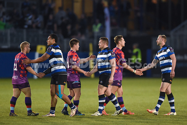 Players from both sides shake hands after the match. Remembrance Rugby match, between Bath United and the UK Armed Forces on May 10, 2017 at the Recreation Ground in Bath, England. Photo by: Patrick Khachfe / Onside Images