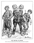 "The Mixture as Before. ""Do as I tell you, my friend, and you'll have nothing to fear from this scoundrel."" (a German soldier with two heads threatens Turkey and Romania by offering to protect one from the other)"