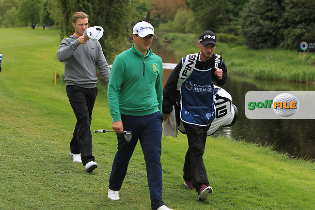 Colm Campbell Jnr. (AM-IRL) walking up the 16th with Oliver Fisher (ENG) during Round 1 of the Dubai Duty Free Irish Open presented  by the Rory Foundation at The K Club, Straffan, Co. Kildare<br /> Picture: Golffile | Thos Caffrey<br /> <br /> All photo usage must carry mandatory copyright credit <br /> (&copy; Golffile | Thos Caffrey)