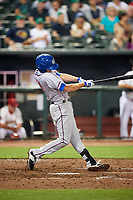 Round Rock Express second baseman Josh Wilson (11) swings at a pitch during a game against the Memphis Redbirds on April 28, 2017 at AutoZone Park in Memphis, Tennessee.  Memphis defeated Round Rock 9-1.  (Mike Janes/Four Seam Images)