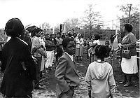 Atlanta Solidarity Mother's Day March, Reverend Suzy Thomas at microphone, Boston May 10, 1981