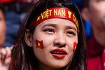 Fans of Vietnam cheers during the AFC Asian Cup UAE 2019 Round of 16 match between Jordan (JOR) and Vietnam (VIE) at Al Maktoum Stadium on 20 January 2019 in Dubai, United Arab Emirates. Photo by Marcio Rodrigo Machado / Power Sport Images