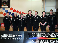 Officials for the Lion Foundation Netball Championship final match, day five, MoreFM Arena, Dunedin, New Zealand, Friday, October 04, 2013. Credit: Dianne Manson/©MBPHOTO /Michael Bradley Photography.