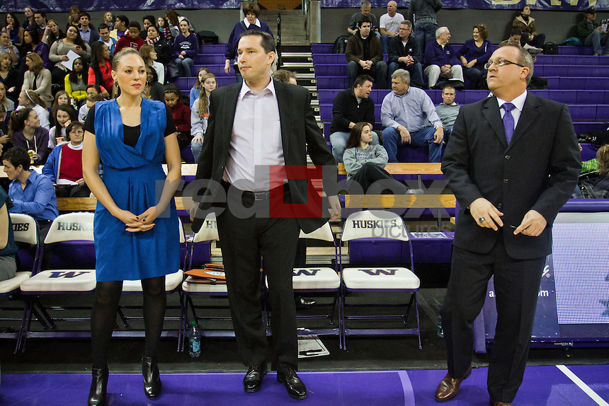 Adia Barnes - Assistant Coach,.Kevin McGuff - Head Coach, Mike Neighbors - Assistant Coach...------Washington Huskies women's basketball against the Arizona Wildcats at Alaska Airlines Arena at Hec Edmundson Pavilion in Seattle on Thursday, January 26, 2012. (Photo by Dan DeLong/Red Box Pictures)