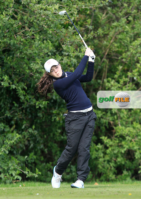 Martha Lewis (ENG) on the 9th tee during Round 1 of The Irish Girls Open Strokeplay Championship in Roganstown Golf Club on Sunday 19th April 2015.<br /> Picture:  Thos Caffrey / www.golffile.ie