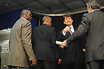 Illinois Governor Rod Blagojevich confronts the press after his announcement of Roland Burris as Barack Obama's replacement to the U.S. Senate in the Thompson Center in Chicago, Illinois on December 30, 2008.