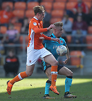 Fleetwood Town's Charlie Oliver  battles with Fleetwood Town's Kyle Dempsey<br /> <br /> Photographer Mick Walker/CameraSport<br /> <br /> The EFL Sky Bet League One - Blackpool v Fleetwood Town - Saturday 14th April 2018 - Bloomfield Road - Blackpool<br /> <br /> World Copyright &copy; 2018 CameraSport. All rights reserved. 43 Linden Ave. Countesthorpe. Leicester. England. LE8 5PG - Tel: +44 (0) 116 277 4147 - admin@camerasport.com - www.camerasport.com