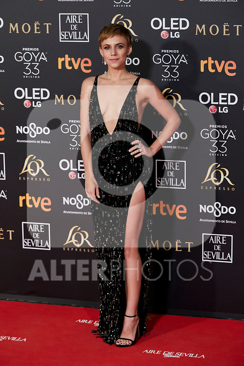 Aura Garrido attends to 33rd Goya Awards at Fibes - Conference and Exhibition  in Seville, Spain. February 02, 2019. (ALTERPHOTOS/A. Perez Meca)