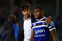 Anthony Watson and Semesa Rokoduguni of Bath Rugby look on after the match. Gallagher Premiership match, between Bath Rugby and Exeter Chiefs on October 5, 2018 at the Recreation Ground in Bath, England. Photo by: Patrick Khachfe / Onside Images
