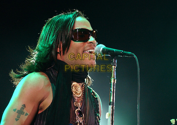 LENNY KRAVITZ.Performs at the102.7 KIIS-FM's Wango Tango On-Air 2004, held at The Rose Bowl in Pasadena,California,.May 15,2004.half length half-length concert gig on stage singing  sunglasses tattoo.©Debbie Van Story/Capital Pictures.*UK sales only*.www.capitalpictures.com.sales@capitalpictures.com.©Capital Pictures