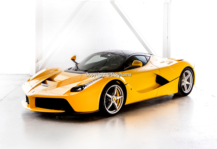 BNPS.co.uk (01202 558833)<br /> Pic: Bonhams/BNPS<br /> <br /> Sold for £1.784 million - 2015 LaFerrari.<br /> <br /> Super-rare Lambo leads incredible sell off an African vice presidents seized car collection.<br /> <br /> The State of Geneva impounded the 24 motors over a financial irregularity court case in 2016 and Bonhams sold off the sparkling collection for a whopping £20 million this weekend.<br /> <br /> An ultra-rare Lamborghini supercar has sold at auction for a world-record price of £6,760,000.<br /> <br /> The Veneno Roadster was one of only nine examples to be built in 2014 and was owned from new by the vice president of Equatorial Guinea.<br /> <br /> Teodorin Obiang Nguema kept the motor for two years before it was seized by Swiss authorities as part of a financial wrongdoing case.