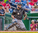 19 September 2015: Miami Marlins catcher J.T. Realmuto in action against the Washington Nationals at Nationals Park in Washington, DC. The Marlins fell to the Nationals 5-2 in the third game of their 4-game series. Mandatory Credit: Ed Wolfstein Photo *** RAW (NEF) Image File Available ***