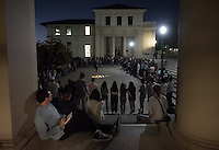 "Audience members watch as performers start between Johnson and Fowler Halls before moving into Choi Auditorium on Thursday, September 8, 2016.<br /> ""What To Send Up When It Goes Down"" is a play-pageant-ritual-homegoing celebration meant to disrupt, honor, and reclaim. An attempt to honor those lost to racist violence in America, the piece uses language, song and movement as a means of reflecting in order to cleanse and uplift. The goal is cleansing/catharsis through the exercise of viewing and participating in the piece, while also making space for collective emotions following tragedy.<br /> http://www.whattosendup.com<br /> http://www.oxy.edu/oxy-arts/projects-exhibitions/visiting-artists<br /> With generous support from: Oxy Arts, OCE, Dean if Students, Remsen Bird Fund, The Hume Fund and The Office of Diversity and Equity.<br /> (Photo by Marc Campos, Occidental College Photographer)"