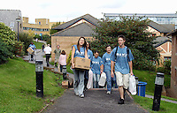 Team of current students helping new students move in , University of Surrey.