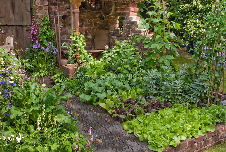 Small vegetable and flower garden with rustic brick wall corner plant flower stock - Rustic flower gardens ...