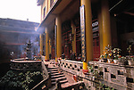 Smoke from incense fills the grounds of Cyunsi Buddhist Nunnery in Chongqing China