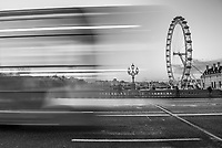 The London Eye and London Bus on Westminster Bridge, South Bank, London, England