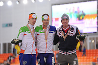 SPEEDSKATING: SOCHI: Adler Arena, 22-03-2013, Essent ISU World Championship Single Distances, Day 2, podium 5000m Men, Jorrit Bergsma (NED), Sven Kramer (NED), Ivan Skobrev (RUS), © Martin de Jong