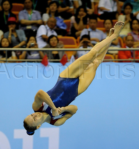 16 08 2011 Shenzhen, China.  Alena Polyanions of Russia Competes for the womens Floor Exercise Final of Artistic Gymnastics Event AT The 26th Summer Universiade in Shenzhen A City of South Chinas Guangdong Province  Polyanions Won The Gold Medal with 14 325 Points