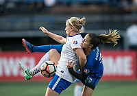 Seattle, WA - Saturday July 15, 2017: Natasha Dowie, Lauren Barnes during a regular season National Women's Soccer League (NWSL) match between the Seattle Reign FC and the Boston Breakers at Memorial Stadium.