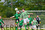 Up for it<br /> -----------<br /> Pat Hickey (Rt) Castleisland Celtic and Brian Murphy Listowel tussle in the air when the sides met in the Greyhound bar cup final last Friday at Mounthawk Pk,Tralee