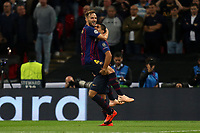 Ivan Rakitic of FC Barcelona is congratulated after scoring the first goal during Tottenham Hotspur vs FC Barcelona, UEFA Champions League Football at Wembley Stadium on 3rd October 2018