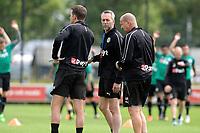 GRONINGEN - Voetbal, Eerste training FC Groningen, Corpus den Hoorn, seizoen 2019-2020, 22-06-2019, FC Groningen assistent-trainer Adrie Poldervaart met Sander van Gessel en Alfon Arts