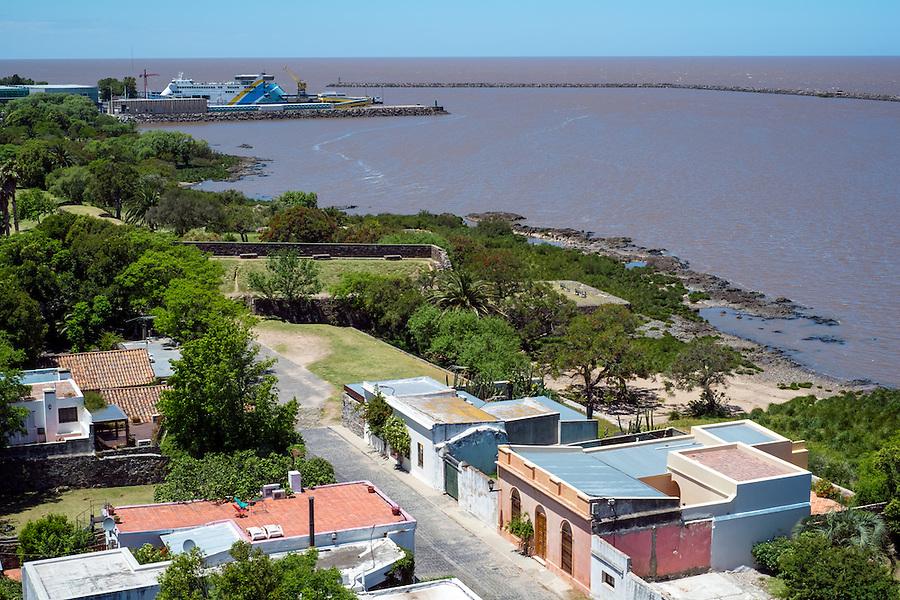 Aerial view of Colonia del Sacramento and the Rio de la Plata River in Uruguay.
