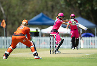 24th November 2019; Lilac Hill Park, Perth, Western Australia, Australia; Womens Big Bash League Cricket, Perth Scorchers versus Sydney Sixers; Erin Burns of the Sydney Sixers flashes outside off stump during her innings - Editorial Use