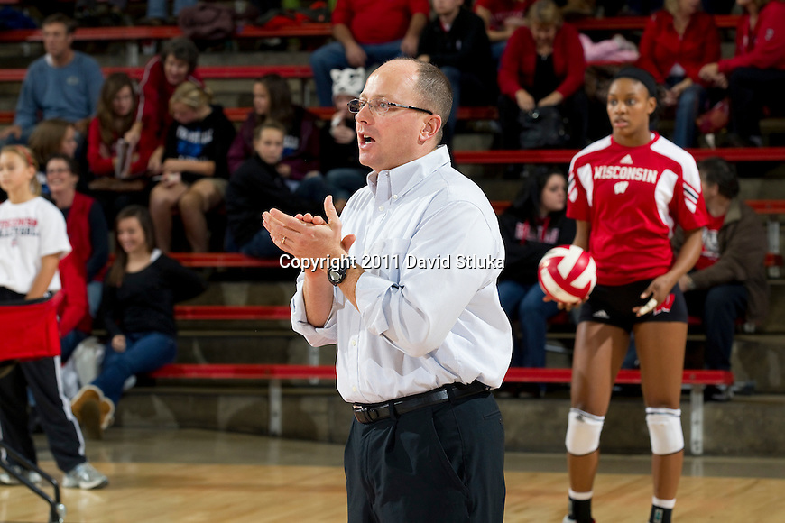 Wisconsin Badgers assistant coach Brian Heffernan during an NCAA women's college volleyball game against the Ohio State Buckeyes on November 4, 2011. The Buckeyes won 3-1. (Photo by David Stluka)