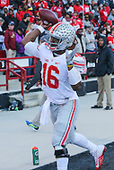 College Park, MD - November 12, 2016: Ohio State Buckeyes quarterback J.T. Barrett (16) warms up before game between Ohio St. and Maryland at  Capital One Field at Maryland Stadium in College Park, MD.  (Photo by Elliott Brown/Media Images International)