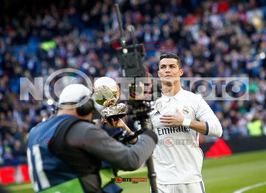 Real Madrid's Cristiano Ronaldo golden ball 2016 during La Liga match. January 7,2016. (ALTERPHOTOS/Acero) . NORTEPHOTO.COM