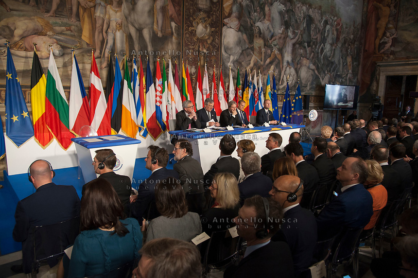 Rome, Italy, March 25,2017. European Commission President Jean-Claude Juncker, European Parliament President Antonio Tajani, Italian Prime Minister Paolo Gentiloni, European Council President Donald Tusk and Malta's Prime Minister Joseph Muscat attend the meeting in the Orazi and Curiazi Hall at the Palazzo dei Conservatori during an EU summit in Rome. European Union leaders were gathering in Rome to mark the 60th anniversary of their founding treaty and chart a way ahead following the decision of Britain to leave the 28-nation bloc.