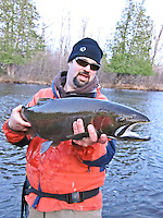 A fly fisherman poses with a steelhead rainbow trout on the East Branch of the Whitefish River a Lake Michigan tributary in the Hiawatha National Forest of Michigan.