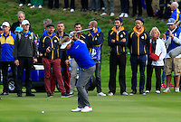 Victor Dubuisson (EUR) on the 18th fairway during the Sunday Singles Matches of the Ryder Cup at Gleneagles Golf Club on Sunday 28th September 2014.<br /> Picture:  Thos Caffrey / www.golffile.ie