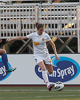 Western New York Flash forward Adriana Martin (8) fakes a cross. In a National Women's Soccer League Elite (NWSL) match, the Boston Breakers (blue) tied Western New York Flash (white), 2-2, at Dilboy Stadium on June 5, 2013.