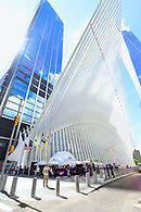 A marketing event at oculus plaza with the oculus and World Trade Center towering in the background.
