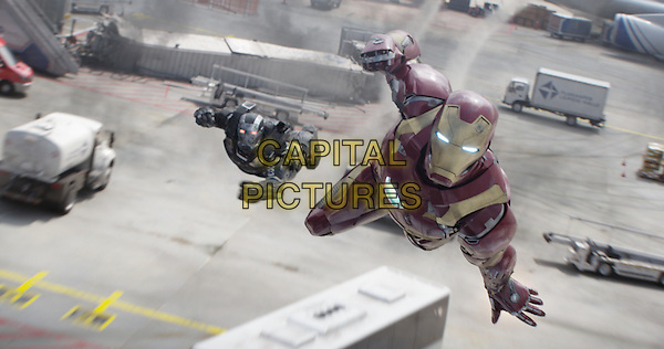 Captain America: Civil War (2016) <br /> War Machine/James Rhodes (Don Cheadle) and Iron Man/Tony Stark (Robert Downey Jr.)<br /> *Filmstill - Editorial Use Only*<br /> CAP/KFS<br /> Image supplied by Capital Pictures