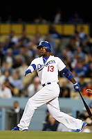 Hanley Ramirez #13 of the Los Angeles Dodgers bats against the Colorado Rockies at Dodger Stadium on April 30, 2013 in Los Angeles, California. (Larry Goren/Four Seam Images)