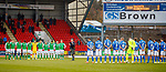09.11.2019 St Johnstone v Hibs: A lone piper during the minutes silence for Remembrance